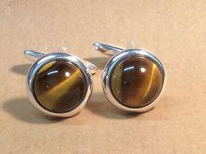 【送料無料】メンズアクセサリ― カフスリンク16mmシルバーtigers eye cufflinks, round, 16mm, silver plated