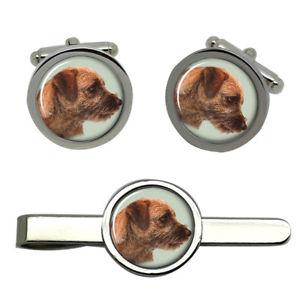 【送料無料】メンズアクセサリ― ボーダーテリアタイクリップセットborder terrier dog round cufflink and tie clip set
