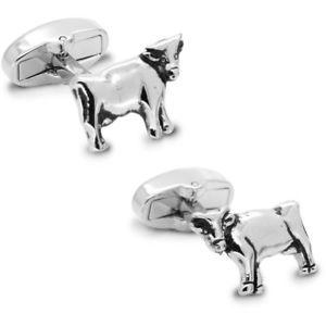 【送料無料】メンズアクセサリ― シルバーカフリンクスsilver cow cufflinks