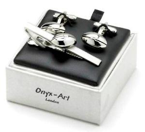 【送料無料】メンズアクセサリ― ラグビーボールカフスボタンタイクリップセットボックスrugby ball cufflinks and tie clip gift set clearance gift boxed