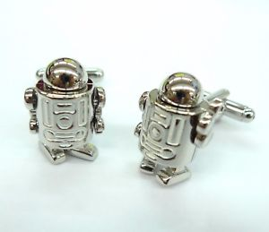 【送料無料】メンズアクセサリ― 7カフスリンクr2d2 gemelos70ロボットsilver robot with moving arms, legs and head cufflinks r2d2 gemelos 70 for 7