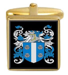 【送料無料】メンズアクセサリ― アイルランドカフスボタンボックスコートmcdowell ireland family crest surname coat of arms gold cufflinks engraved box