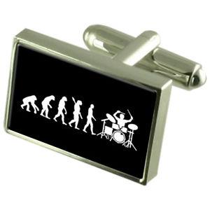 【送料無料】メンズアクセサリ― ドラマーカフスボタンクリスタルタイクリップバーボックスevolution ape to man drummer cufflinks crystal tie clip bar box set engraved