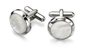 【送料無料】メンズアクセサリ― フレッドベネットスチールホワイトモップラウンドカフリンクスfred bennett steel white mop round cufflinks