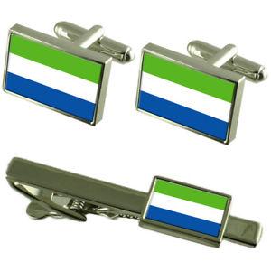 【送料無料】メンズアクセサリ― シエラレオネカフスボタンタイクリップマッチングボックスセットsierra leone flag cufflinks tie clip matching box gift set