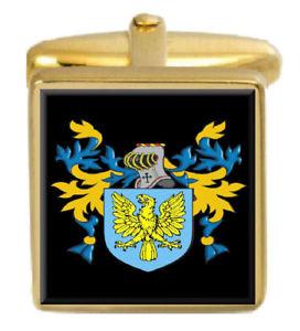 【送料無料】メンズアクセサリ― カフスボタンボックスコートwhitford wales family crest surname coat of arms gold cufflinks engraved box