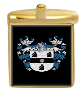 【送料無料】メンズアクセサリ― ハウイングランドカフスボタンボックスコートhowe england family crest surname coat of arms gold cufflinks engraved box
