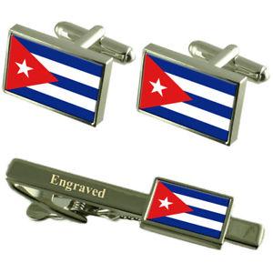 【送料無料】メンズアクセサリ― キューバカフスボタンタイクリップマッチングボックスcuba flag cufflinks engraved tie clip matching box set