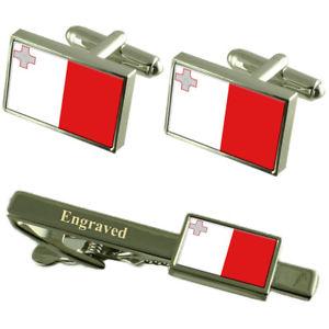 【送料無料】メンズアクセサリ― マルタカフスボタンタイクリップマッチングボックスmalta flag cufflinks engraved tie clip matching box set
