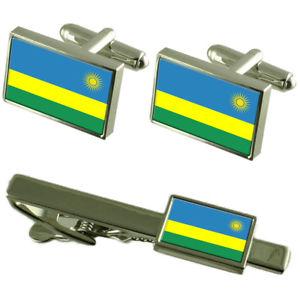 【送料無料】メンズアクセサリ― ルワンダカフスボタンタイクリップマッチングボックスセットrwanda flag cufflinks tie clip matching box gift set