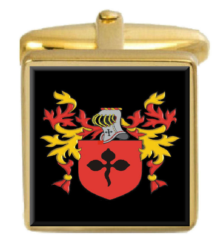 【送料無料】メンズアクセサリ― サービスイングランドカフスボタンボックスコートnott england family crest surname coat of arms gold cufflinks engraved box