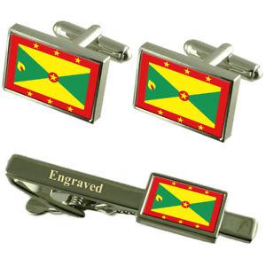 【送料無料】メンズアクセサリ― グレナダカフスボタンタイクリップマッチングボックスgrenada flag cufflinks engraved tie clip matching box set