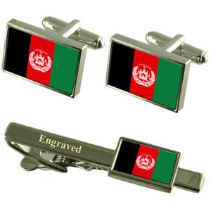 【送料無料】メンズアクセサリ― アフガニスタンカフスボタンタイクリップマッチングボックスafghanistan flag cufflinks engraved tie clip matching box set