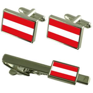【送料無料】メンズアクセサリ― オーストリアカフスボタンタイクリップマッチングボックスセットaustria flag cufflinks tie clip matching box gift set