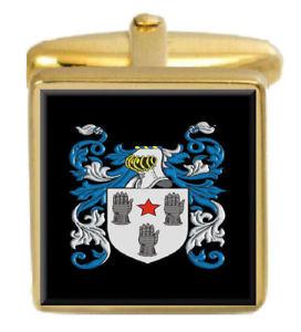 【送料無料】メンズアクセサリ― イギリスカフスボタンボックスコートbarff england family crest surname coat of arms gold cufflinks engraved box