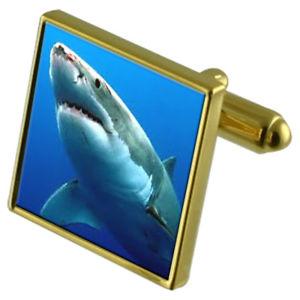 【送料無料】メンズアクセサリ― サメカフスボタンクリスタルタイクリップセットocean great white shark goldtone cufflinks crystal tie clip gift set