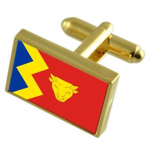 【送料無料】メンズアクセサリ― バーミンガムシティイングランドゴールドフラッグカフスボタンボックスbirmingham city england gold flag cufflinks engraved box