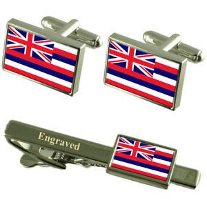 【送料無料】メンズアクセサリ― ハワイカフスボタンタイクリップマッチングボックスhawaii flag cufflinks engraved tie clip matching box set