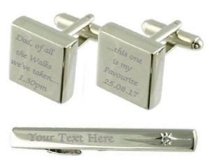 【送料無料】メンズアクセサリ― ウォーキングカフスボタンタイクリップボックスdad favourite walks engraved cufflinks tie clip box set