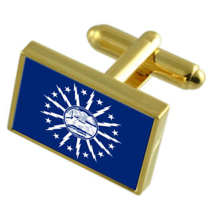 【送料無料】メンズアクセサリ― バッファローアメリカゴールドフラッグカフスボタンボックスbuffalo city usa gold flag cufflinks engraved box