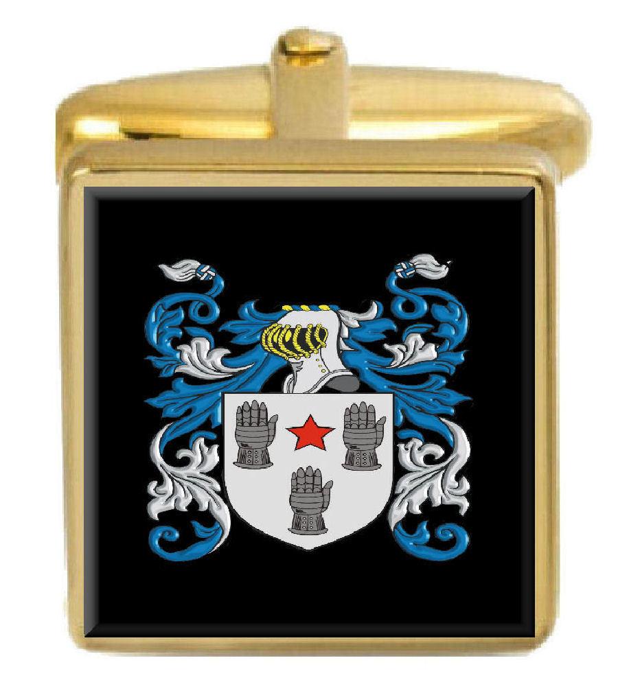 【送料無料】メンズアクセサリ― イングランドカフスボタンボックスコートwhite england family crest surname coat of arms gold cufflinks engraved box