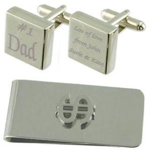 【送料無料】メンズアクセサリ― #スクエアカフスボタンドルマネークリップセットdad 1 engraved square cufflinks dollar money clip gift set