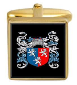 【送料無料】メンズアクセサリ― イングランドカフスボタンボックスコートherbert england family crest surname coat of arms gold cufflinks engraved box