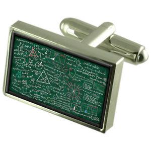 【送料無料】メンズアクセサリ― チョークボードカフスボタンクリスタルタイクリップバーボックスprofessor math chalk board cufflinks crystal tie clip bar box set engraved