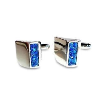【送料無料】メンズアクセサリ― カフスリンクblue crystal wedge cufflinks