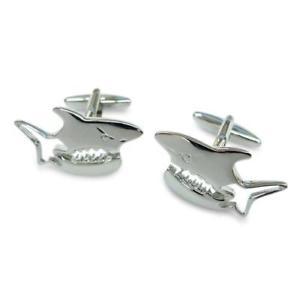 【送料無料】メンズアクセサリ― サメカフスリンクsilver shark cufflinks