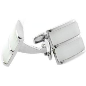 【送料無料】メンズアクセサリ― デュアルホワイトアイスシルバーカフリンクスdual white ice cateye silver cufflinks
