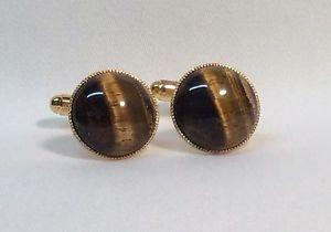 【送料無料】メンズアクセサリ― カフスリンク15mmゴールドtigers eye cufflinks, round, 15mm, gold plated