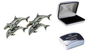 【送料無料】メンズアクセサリ― ピューターカフリンクスケースdophins english pewter cufflinks in case, can be engraved personalisedx2tsbca38