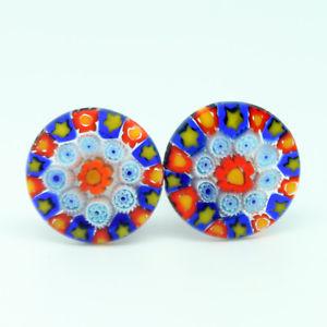 【送料無料】メンズアクセサリ― オレンジミッレフィオーリmuranoglassカフスリンクmuranoglassカフスリンクorange, blue and yellow circular patterned muranoglass cufflinks with millef