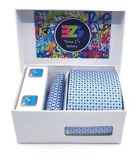 【送料無料】メンズアクセサリ― タイゼブラカフスリンクセットlight blue tie and zebra cufflinks set