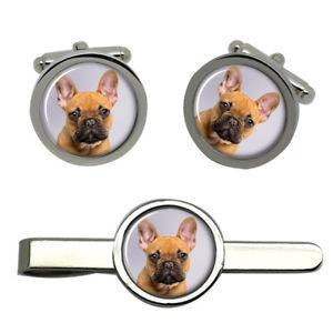 【送料無料】メンズアクセサリ― フレンチブルドッグカフスリンクネクタイピンセットfrench bulldog round cufflink and tie clip set