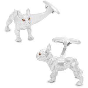 【送料無料】メンズアクセサリ― ブラウンブルドッグカフスリンクsilver bulldog cufflinks with brown crystal eyes