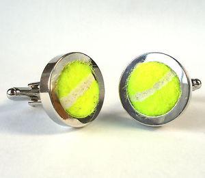 【送料無料】メンズアクセサリ― テニスボールカフリンクスクリスマスウィンブルドンスポーツreal tennis ball cufflinks wedding favour groom christmas wimbledon men sport