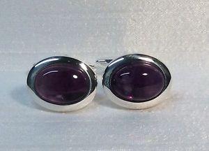 【送料無料】メンズアクセサリ― アメジストカフリンクスamethyst cufflinks, oval, silver plated