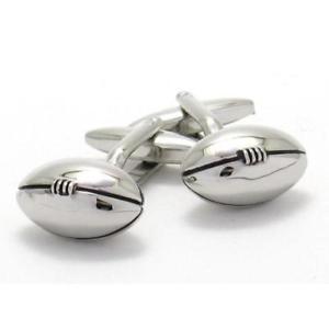 【送料無料】メンズアクセサリ― ラグビーフットボールカフスリンクfooty rugby silver football cufflinks