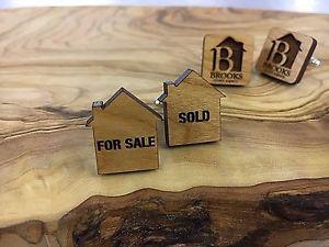【送料無料】メンズアクセサリ― カフスボタンエージェントhand crafted wooden amp; silver plated cufflinks ,estate agent, sold for