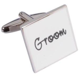 【送料無料】メンズアクセサリ― カフスリンクgroom white cufflinks