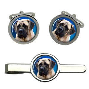【送料無料】メンズアクセサリ― マスチフカフスリンクネクタイピンセットenglish mastiff round cufflink and tie clip set
