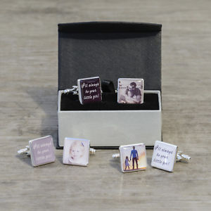 【送料無料】メンズアクセサリ― iカフスリンクpersonalised ill always be your little girl photo cufflinks father of the bride