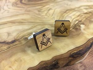 【送料無料】メンズアクセサリ― カフリンクスhand crafted wooden amp; silver plated ,masonic cufflinks