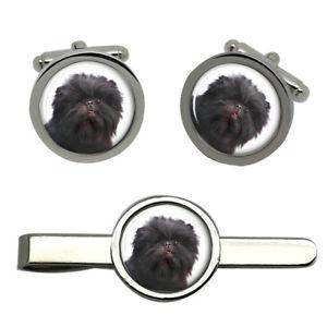 【送料無料】メンズアクセサリ― タイクリップセットaffenpinscher dog round cufflink and tie clip set