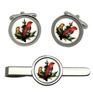 【送料無料】メンズアクセサリ― タイクリップセットpine grosbeak round cufflink and tie clip set