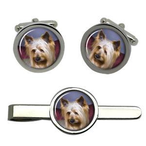 【送料無料】メンズアクセサリ― オーストラリアンシルキーテリアタイクリップセットaustralian silky terrier dog round cufflink and tie clip set
