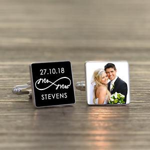 【送料無料】メンズアクセサリ― パーソナライズカフリンクスpersonalised silver plated mr amp; mrs infinity wedding photo cufflinks