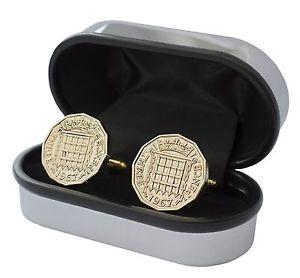 【送料無料】メンズアクセサリ― ペンスコインカフリンクスluxury brass 3d three pence coin cufflinks choice of date 19371967 birthday
